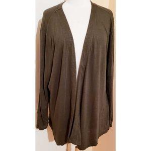 J. Jill Love Linen Olive Green Cardigan Sweater